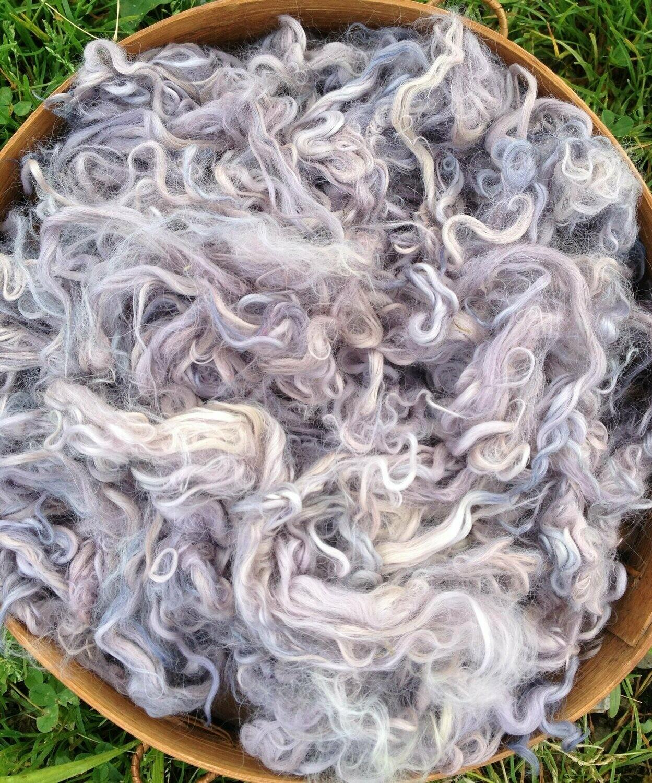 Hand-Dyed Suri Alpaca Fiber, 4 Inches, Violet