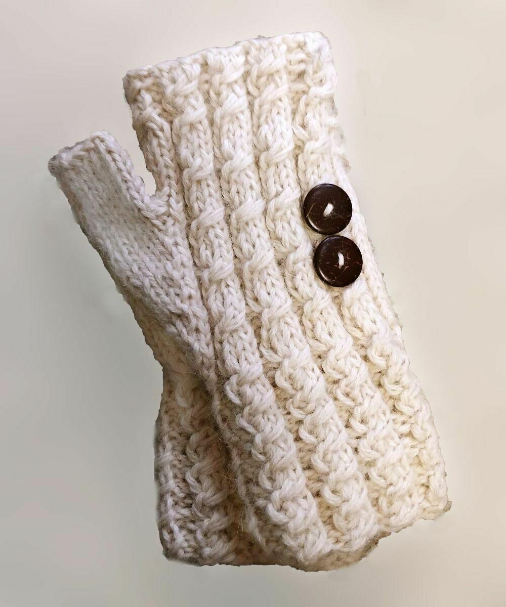Cable Knit Button Gauntlet