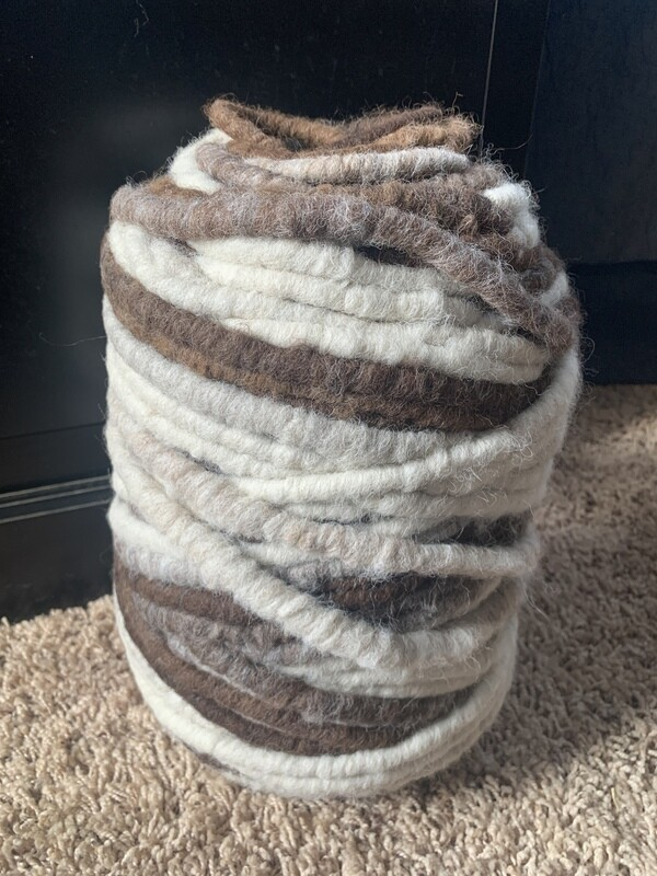 Alpaca Rug Yarn - Brown, White, Grey