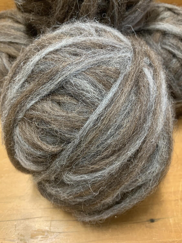 Alpaca Roving - Grey Brown Two Tone