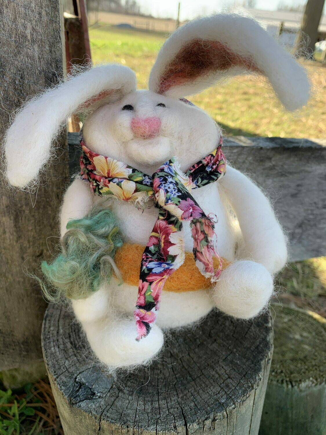 Needle Felted White Bunny with Carrot