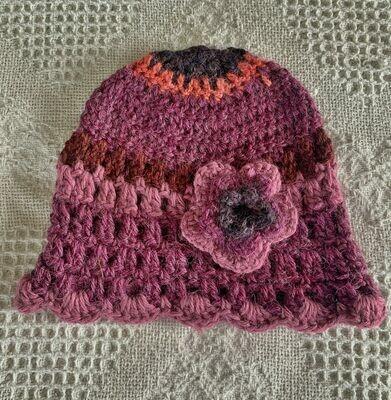 Burgundy Pink Alpaca Hat and Booties - 12-18 Months