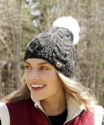 Pom-Pom Cable Alpaca Hat