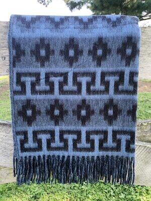 Geometric Alpaca Throw - Blue/Grey