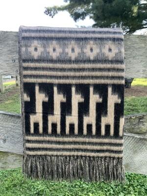 Alpaca Motif Alpaca Throw - Beige/Black