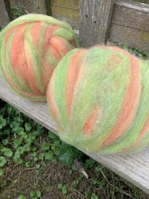 Alpaca Wool Roving - Citrus Sherbert
