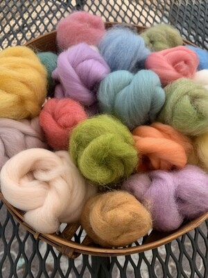 Alpaca Wool Roving Sampler - Spring Colors
