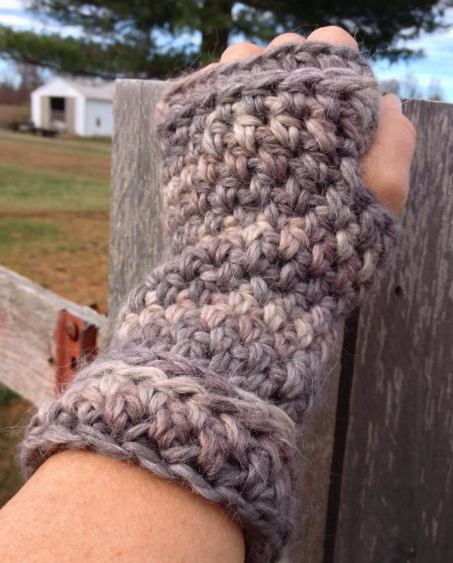 Simple Ridged Fingerless Mitts