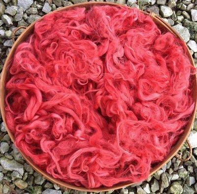 Hand-Dyed Suri Alpaca Fiber, 4 Inches, Crabapple