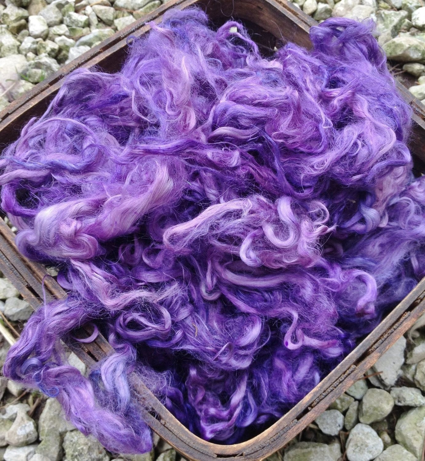 Hand-Dyed Suri Alpaca Fiber, 5 Inches, Mulberry