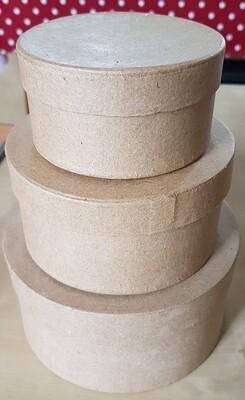Papier-Mache Boxes - Round (set of 3)