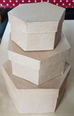 Papier-Mache Boxes - Hexagon (set of 3)