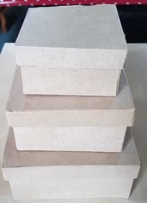 Papier-Mache Boxes - Square (set of 3)