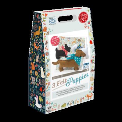 The Crafty Kit Company - Three Felt Puppies Sewing Kit