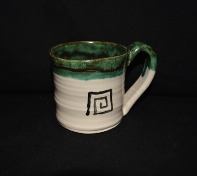 Green and White Tiny Mug with Square Knot Artwork