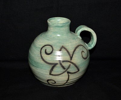 Light Green Jug with Triangle Knot with Spirals Artwork