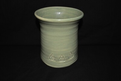 Light Green Utensil Crock with Triangle Artwork