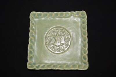 Light Green Square Soap Dish with Tree Artwork