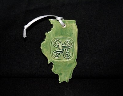 Green Illinois Ornament with Square Knot Artwork