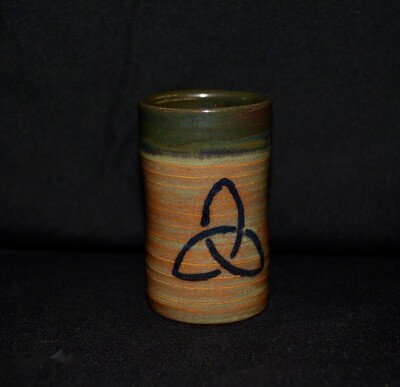 Dark Green and Orange Colored Shot Glass with Failte and Celtic Triangle Knot Artwork