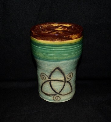 Multi-Colored Large Tumbler with Triple Spiral Artwork