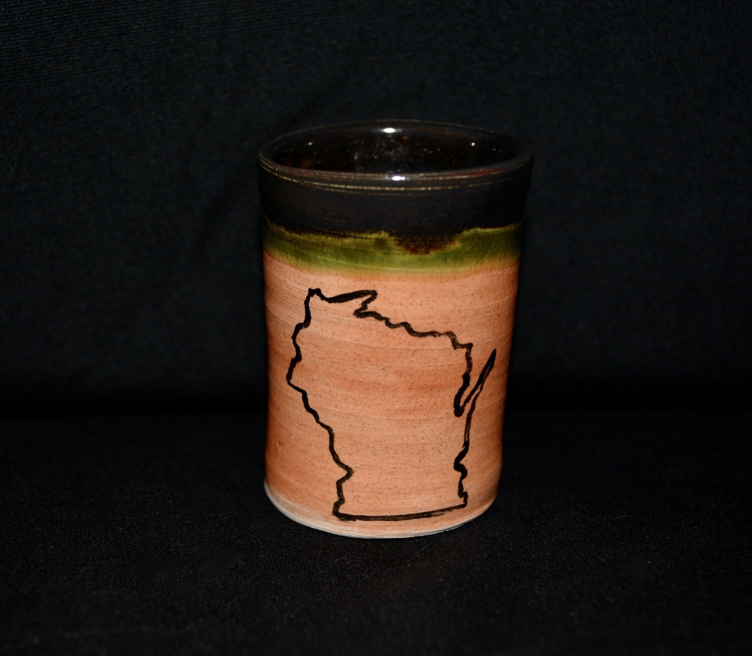 Dark Green and Light Orange Colored Shot Glass with Wisconsin Artwork