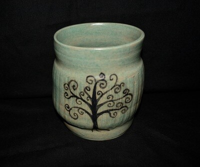 Light Green Large Tumbler with Tree Artwork