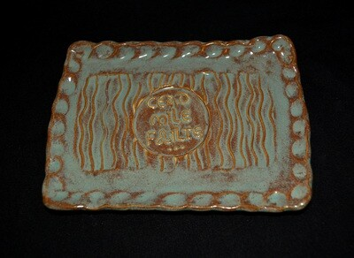 Blue and Rust Colored Rectangle Soap Dish with a Cead Mile Failte Inscription