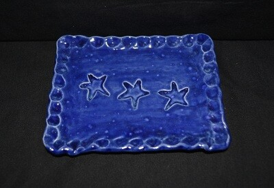 Blue Rectangle Soap Dish with Stars Artwork