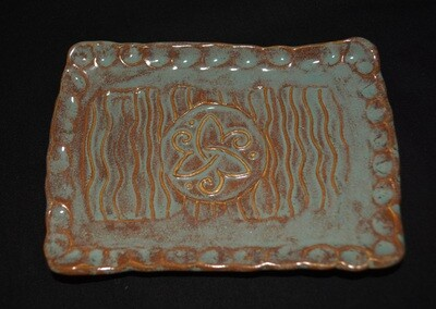 Blue and Rust Colored Rectangle Soap Dish with Celtic Triangle Knot with Spirals Artwork