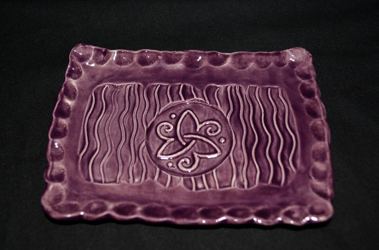 Purple Rectangle Soap Dish with Celtic Triangle with Spirals Artwork