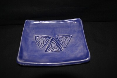 Blueish Purple Rectangle Soap Dish with Celtic Triangle Knot Artwork