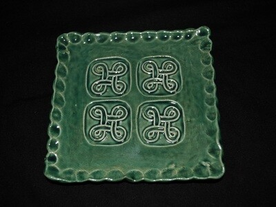 Green Square Soap Dish with Square Celtic Knot Artwork