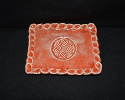 Orange Rectangle Soap Dish with Celtic Knot Artwork