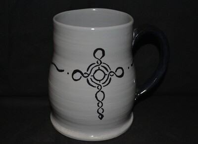 Grey Mug with Celtic Knot Cross Artwork with a Black Handle