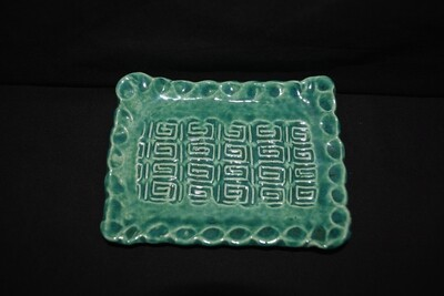 Green Rectangle Soap Dish with Celtic Knot Artwork