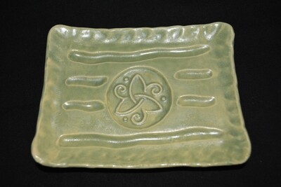 Light Green Rectangle Soap Dish with Celtic Spiral Artwork