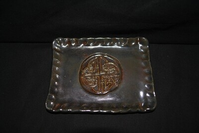 Moss Green Rectangle Soap Dish with Celtic Knot Artwork