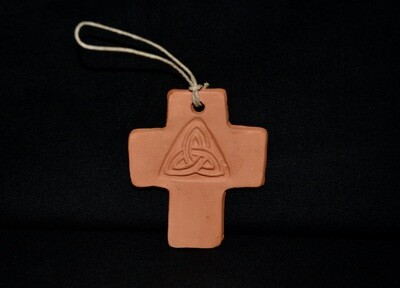 Clay Cross Ornament with Celtic Triangle Artwork