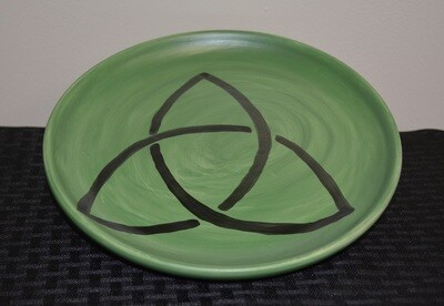Large Green Plate with Black Celtic Triangle Artwork