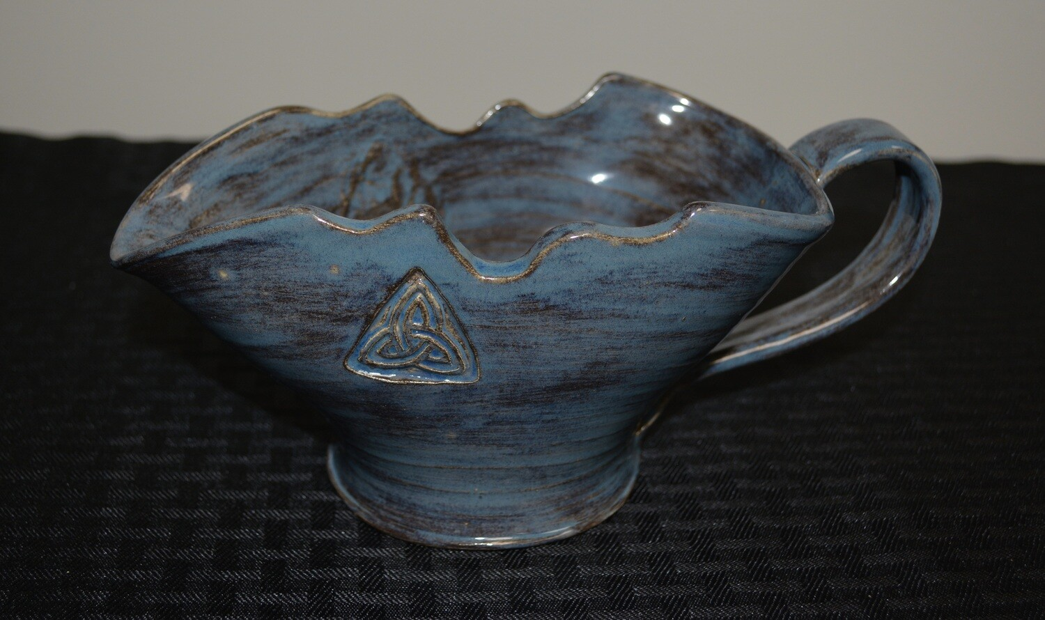 Brushed Blue Gravy Pitcher with Celtic Triangle Artwork