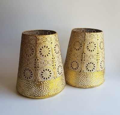 Gold & White Pattern Lantern