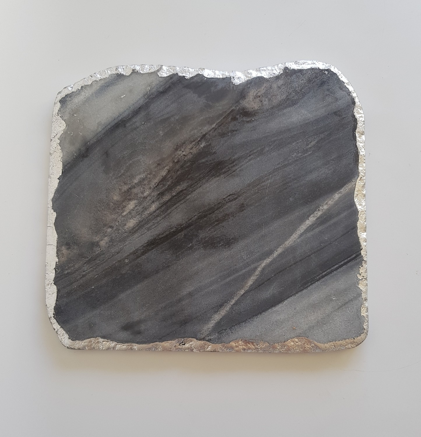 Solid Marble with Silver Edging