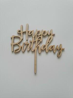 Happy Birthday Script - Light Timber