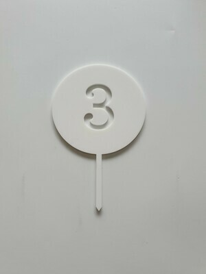 Circle with Number Cut Out White - 3
