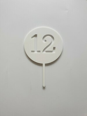 Circle with Number Cut Out White - 12