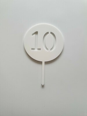 Circle with Number Cut Out White - 10