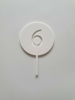 Circle with Number Cut Out White - 6