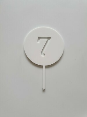 Circle with Number Cut Out White - 7