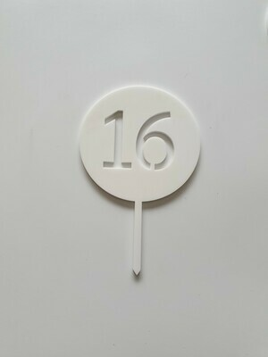 Circle with Number Cut Out White - 16